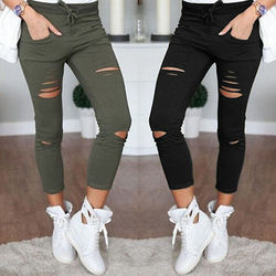 New 2016 skinny jeans women denim pants holes destroyed knee pencil pants casual trousers black white.jpg 250x250
