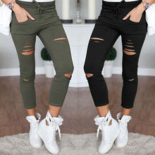 new 2017 Skinny Jeans Women Denim Pants Holes Destroyed Knee Pencil Pants Casual Trousers Black White Stretch Ripped Jeans