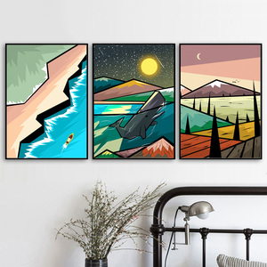Image 3 - Abstract Mountain Forest whale Landscape Nordic Posters And Prints Wall Art Canvas Painting Wall Pictures For Living Room Decor