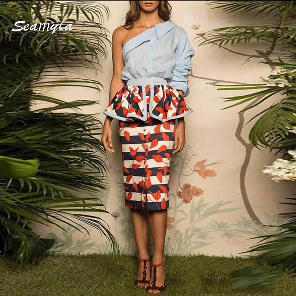 Livraison Gratuite 2017 Nouveau Designer Piste Deux Pièces Costumes Set Asymétrique Une Épaule Imprimer Femmes Robes De Soirée D'hiver