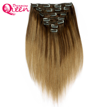 Dreaming Queen Hair b2/8 Piano color Clip In Straight Hair Extensions 100% Brazilian Remy Human Hair 7 Pieces/Set 120g 16 Clips