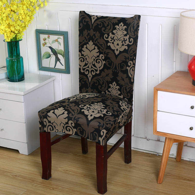 Chair Cover Spandex Printing Elastic Dining Chair Covers Removable  Anti-dirty Seat Cover Stretch fundas sillas comedor elastica
