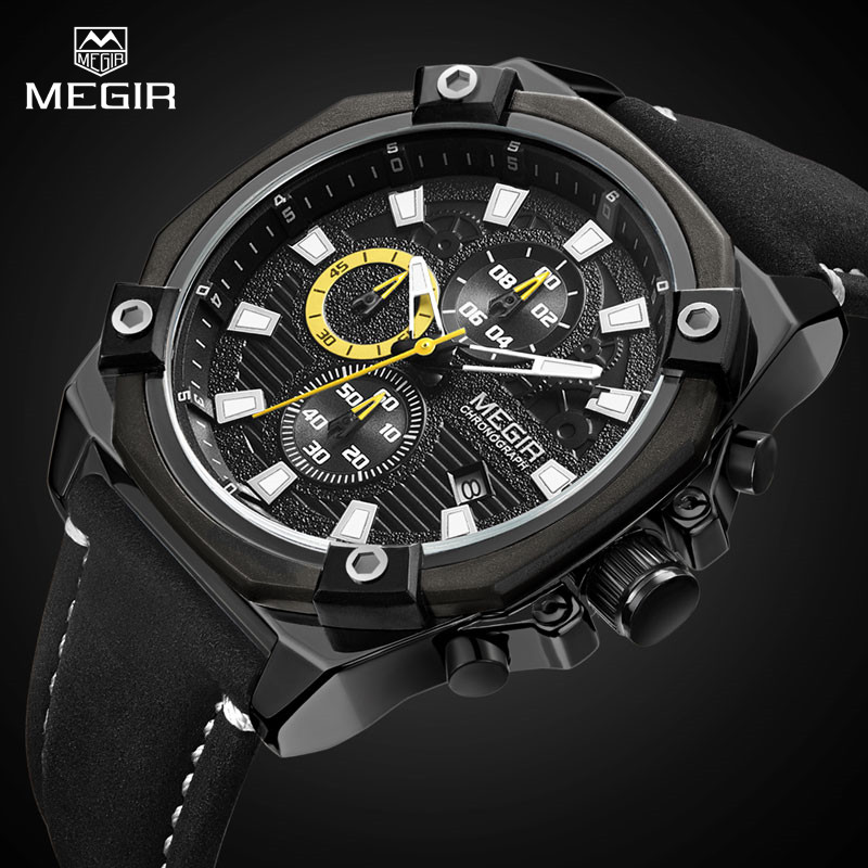 Top Brand Luxury MEGIR Military Chronograph Sport Mens Watches Quartz Watch Fashion Leather Strap Clock Male Relogio Masculino megir mens watches top brand luxury casual fashion quartz watch sport wristwatch mens leather strap male clock relogio masculino