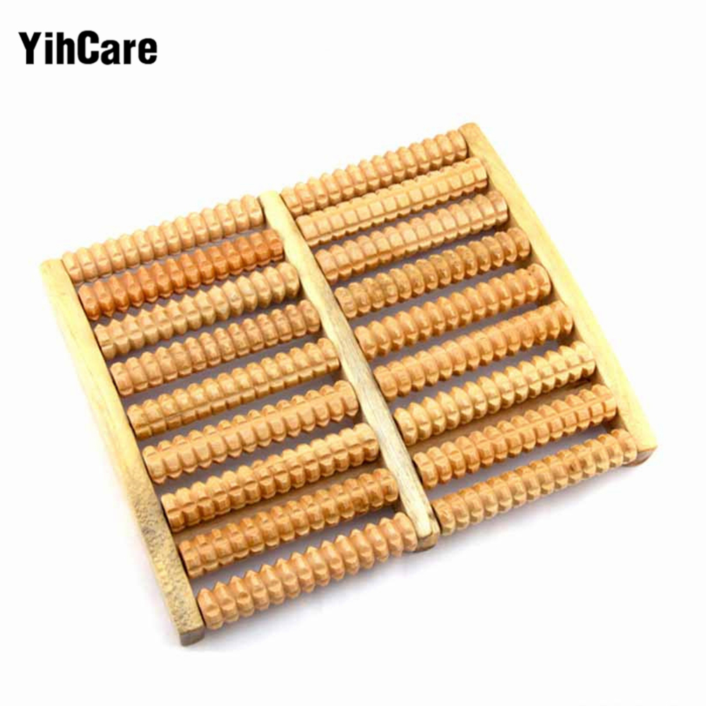 YihCare Wooden Roller Foot Massager 9 Row Roller Acupuncture Points Care Apparatus Stress Relief Health Therapy Relax Massage 2pcs natural fragrant wood hexagonal hand massage balls roller massager sphere acupuncture for blood circulate relax health care