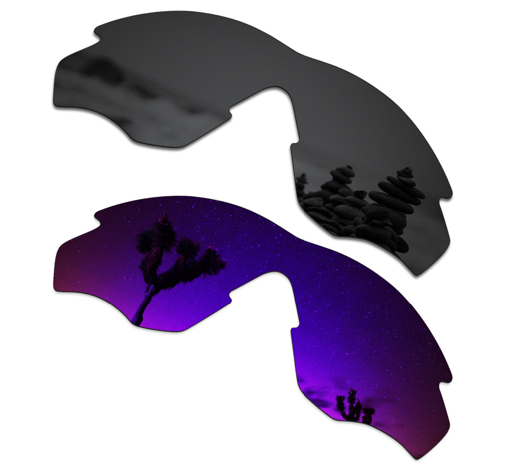 SmartVLT 2 Pieces Polarized Sunglasses Replacement Lenses For Oakley M2 Stealth Black And Plasma Purple