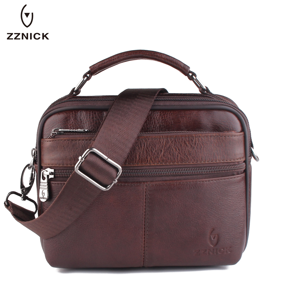 ZZNICK 2018 Genuine Cowhide Leather Shoulder Bag Small Messenger Bags Men Travel Crossbody Bag Handbags New Fashion Men Bag Flap