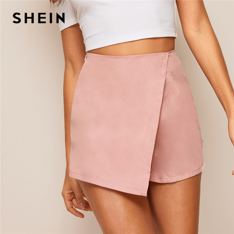 SHEIN Pink or Black Asymmetrical Hem Solid Wrap   Shorts   Skirts Women Summer Zipper Fly Mid Waist Solid Streetwear Casual   Shorts