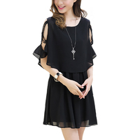 Women Summer Dress Round Collar Short Sleeve Cotton And Linen Casual Hollow Out Fake Two Pieces
