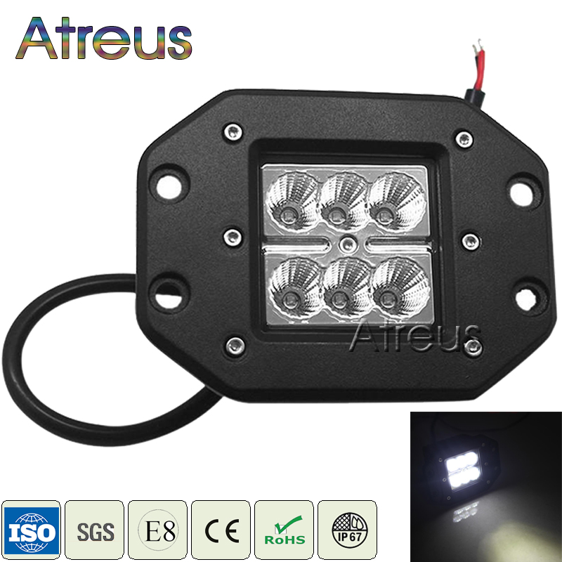 Atreus 18W Car LED Work Light Bar 12V Spot DRL For ATV Truck 4x4 Offroad 4WD Trailer Jeep Driving Fog Lamp car led accessories