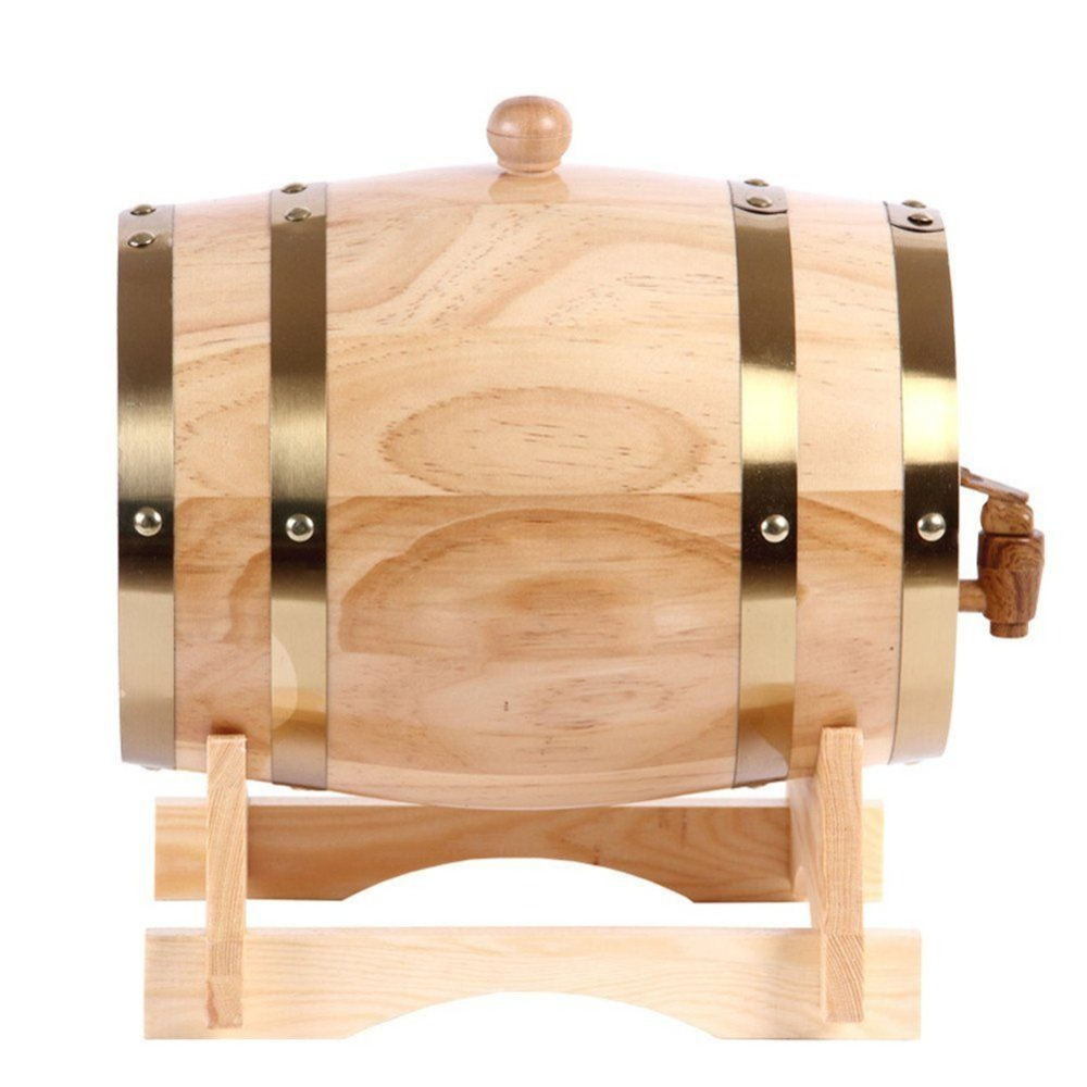 1 5L Beer Brewing Keg Wood Oak Timber Wine Barrel for Whiskey Rum Barrel Hotel Restaurant Home Brew Display Mini Alcohol Bucket in Other Bar Accessories from Home Garden