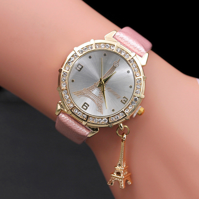 Luxury Women Watch Quartz Wrist The Eiffel Tower Rhinestone Pendant Women Wrist 2019 Female Causal Gift Clock Relogio Feminino