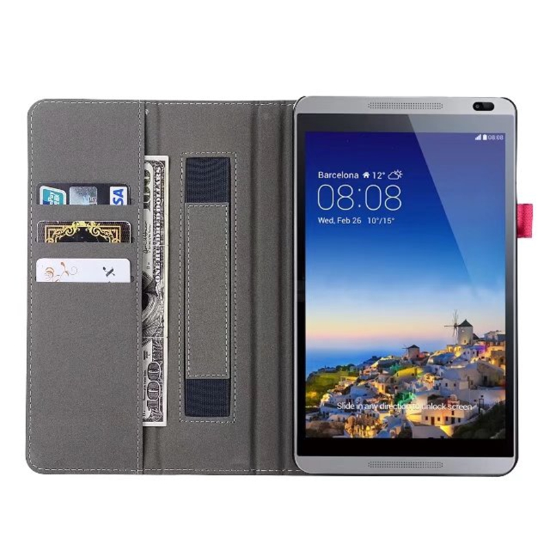 Case Cover For Huawei Mediapad T3 8 8.0 KOB-L09 KOB-W09 Honor Play Pad 2 Tablet Wallet Hand Holder Grip Shell W/ Card Slots