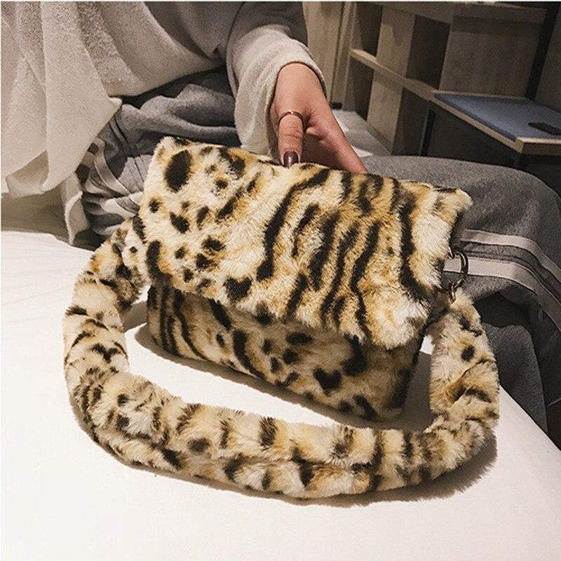 2020 New Women Winter Faux Fur Shoulder Bag  Handbag Lady Leopard Print Handbag Female Party Small Girls Tote Bag Christmas Gift