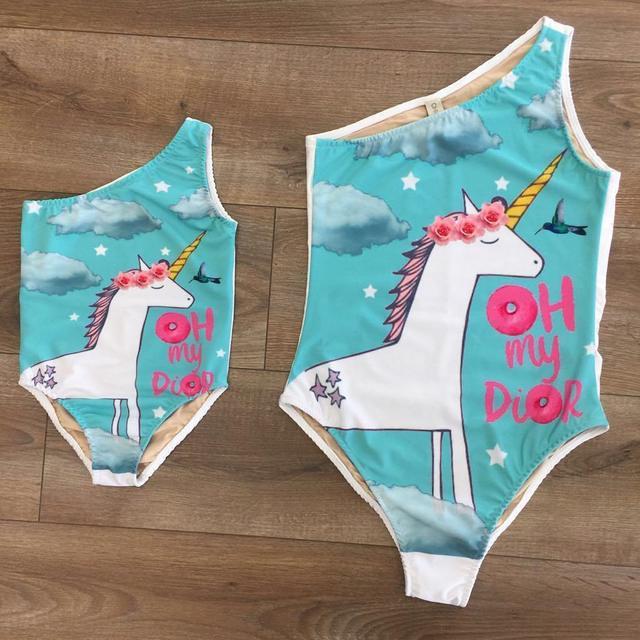 2019 משפחה פעוט תינוק ילד ילדה ביקיני התאמת Unicorn בגד גוף סט רחצה חליפת בגדי ים בגד ים וחוף
