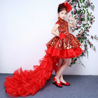 Kids Girls Wedding Flower Girl Dress Princess Party Pageant Formal Dress Red New Costume Sequins T