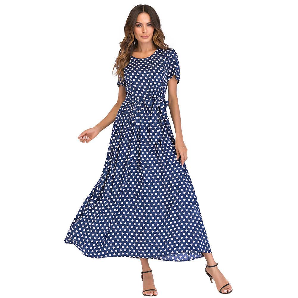 3d85138b4b1 Модное женское длинное платье в горошек с короткими рукавами с высокой  талией XXXL 4XL 5XL плюс