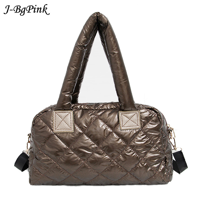 2019 New Bale Winter Bag For Women Casual Cotton Space Quilted Feather Bag For Women Grillwork Handbag Shoulder Bag