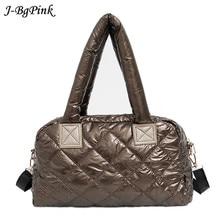 2020新ベール冬のバッグ女性のためのカジュアル綿スペースキルト羽女性のための格子状のハンドバッグショルダーバッグ