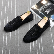 CuddlyIIPanda Brand Men Velvet Loafers Men Embroidery Note Party Dress Stage Shoes Smoking Slipper Fashion Mens Flats Sneakers