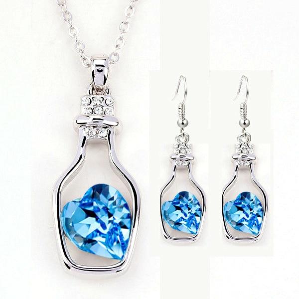New Fashion womens Geometry Drift bottles jewellery set of blue jewerly sets for