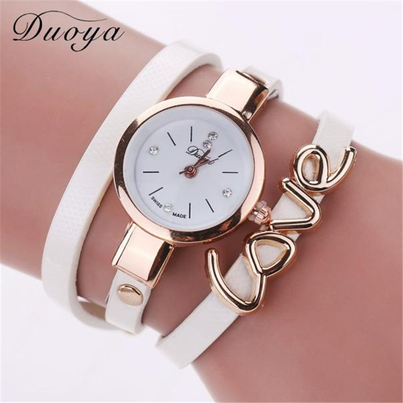 цены Duoya Brand Quartz Watch Women Love Handmade Bracelet Wristwatch Fashion Casual Strap Dress Watches Women Style Watch erkek kol