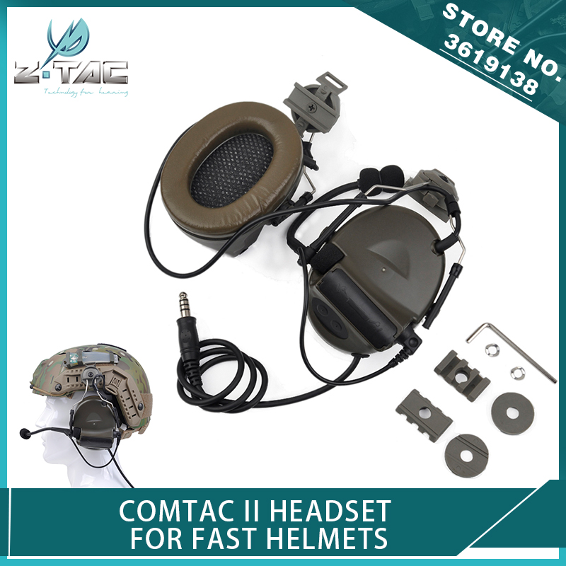 Z-Tactical Airsoft Comtac II Headset with Peltor Helmet Rail Adapter Set for FAST Helmets Noise Canceling HeadphoneZ-Tactical Airsoft Comtac II Headset with Peltor Helmet Rail Adapter Set for FAST Helmets Noise Canceling Headphone