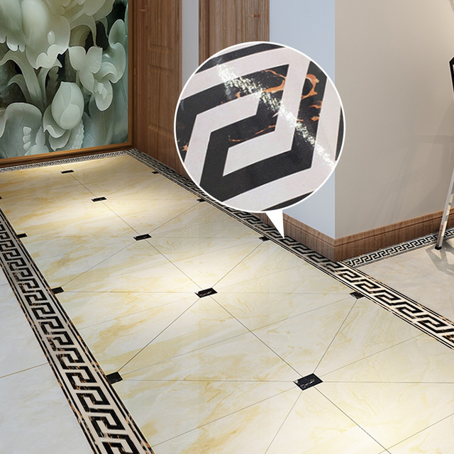 Funlife Marble Wallpaper Borders,Greek Pattern Wall Border Sticker For Living  Room Tile Stickers,