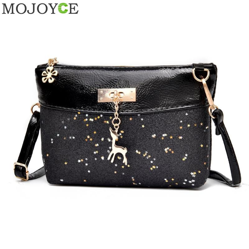 Women Sequins Shoulder Bags Fashion Mini Bag With Deer Toy Shell Shape Women Small Messenger Crossbody Bag Ladies Zipper Handbag