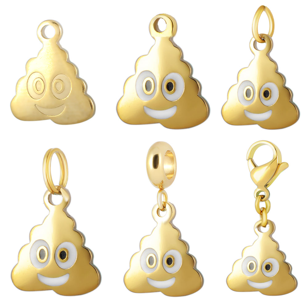10pcs/Lot Stainless Steel Charms Accessories Gold Color DIY Emoticon Charm Funny Pile Poo Poop Emoji Charms for Jewelry Making
