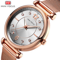 MINI FOCUS New Hot Lady Fashion Rose Gold Watch Waterproof Metal Mesh Belt With Diamond Luminous Watch Gifts for Women