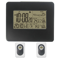 New DYKIE RF RCC Wireless Weather Station Digital Weather Forecast Alarm Clock Temperature Humidity Backlight 2 Transmitters