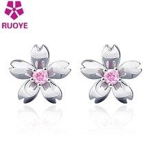 RUOYE New Fashion White Pink Crystal Flower Stud Earrings Sweet Korean Earrings For Women Silver Ear Jewelry For Girl