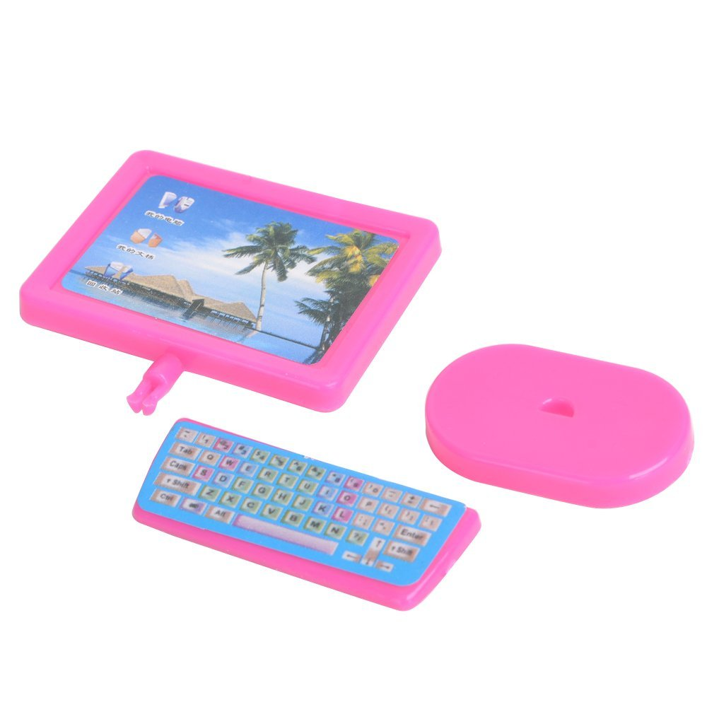 Dollhouse Furnishings For Dolls Miniature Plastic Pink Trendy Piece Laptop Furnishings For Barbie Doll Toys for Kids