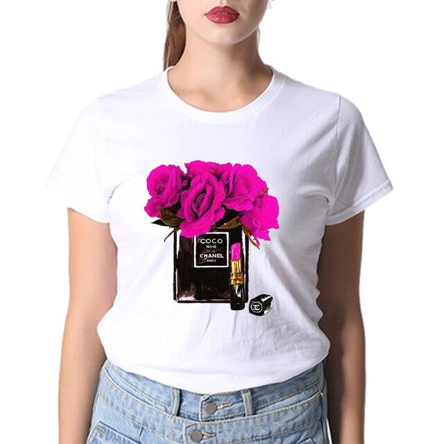 ebdca2ce5 Vogue T-Shirt Women Paris Style Perfume Flower Bts Fruit Makeup White T  Shirts Breathable 100% Cotton Jeans Tops