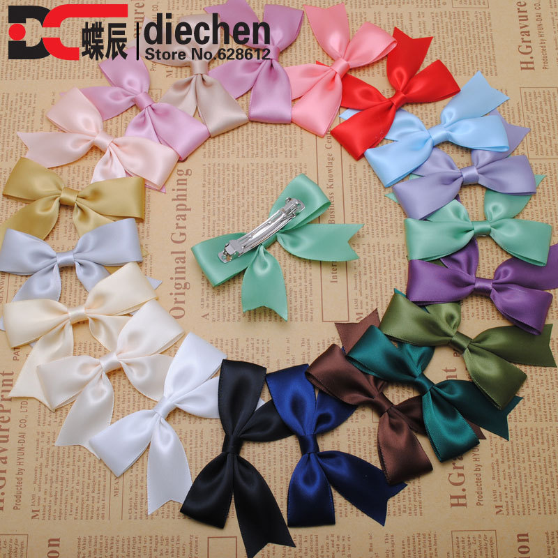 1piece High Quality Classic Silky Satin Ribbon Bows Hairpins Alligator Hair Clips Korean Style Barrettes Women Headwear 20 Color