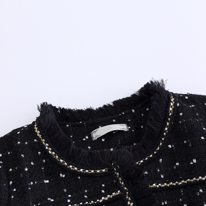 Grande Automne Col Rond Vestes Femmes Taille Tweed Manteaux Et Dames Mince 5xl Gland Lxunyi Outwear Noir Élégant Black Manteau 4xl Veste CxoeBdWr
