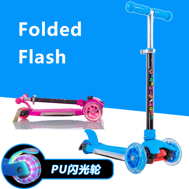 2017 New Arrival 2+ Years Children Folding Scooters Kids Bike Three-wheeled Scooter Taxi Lights Flash Music Birthday Gift Toys mercane m1 three wheeled electric scooter folding lithium battery bicycle