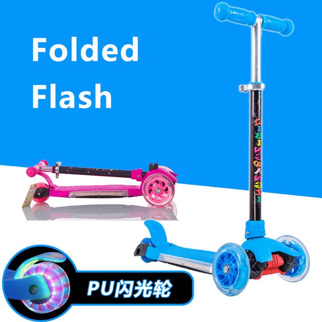 2017 recién llegado de 2 + años los niños plegable scooters niños en bicicleta de tres ruedas scooter de taxi luces de destello de la música de cumpleaños regalo toys
