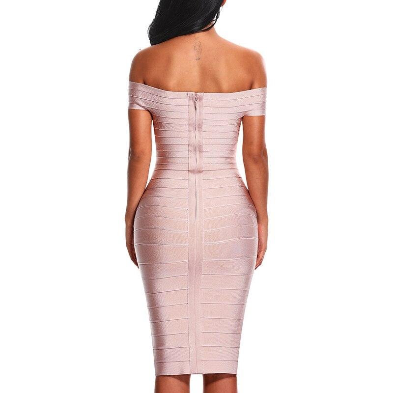 INDRESSME Sexy Encolure Femmes robe lacée Élégant Slash Cou Genou Longueur Moulante Dos Nu tenue de fête Robes 2019 Nouveau - 3