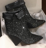 2018 Fashion Fold Boots Bling Silver Glitter Women Ankle Boots Sexy Spike Heels Pointy Toe Ladies Finger Heel Slip On Party