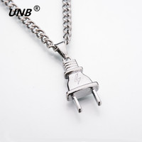 UNB 2017 New Gold-color Electrical Plug Shape Pendants Necklaces Men Women Hip Hop Charm Chains Iced Out Bling Jewelry Gifts 3