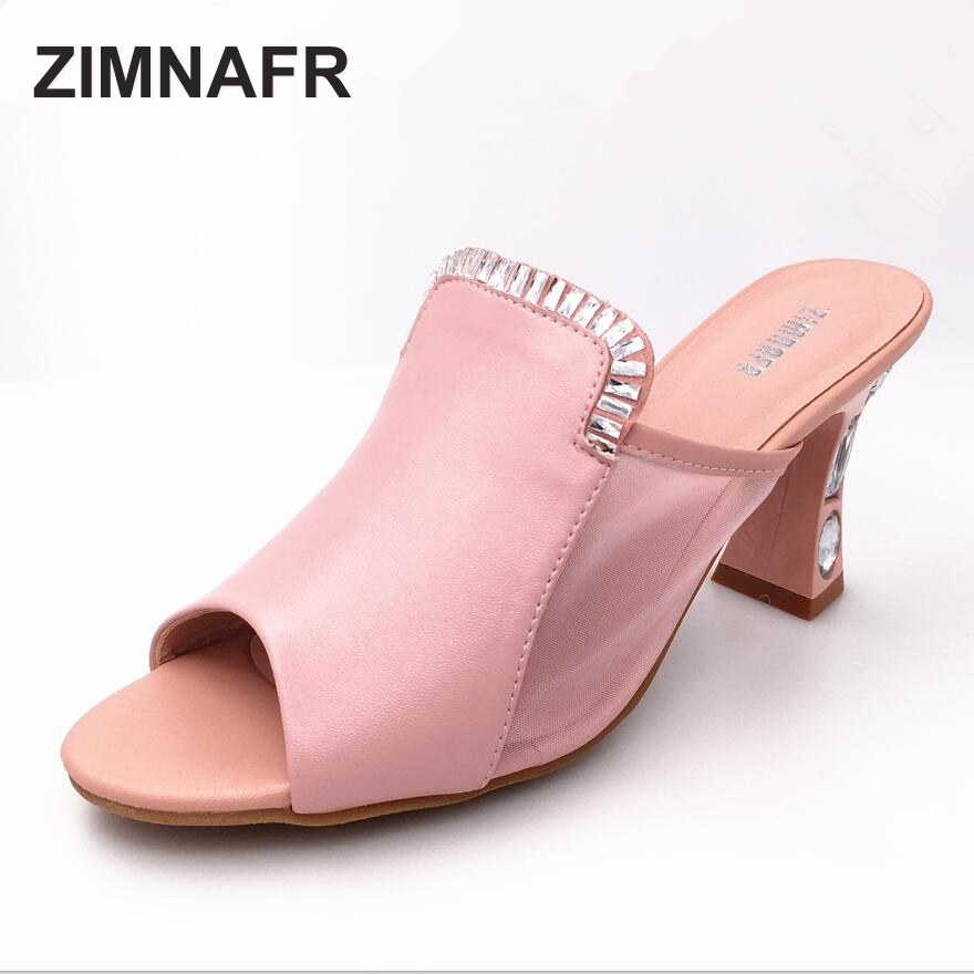 ZIMNAFR BRAND 2017 summer WOMEN high-heeled platform fish mouth  genuine leather slippers fashion sexy word yarn sandals WOMEN women sandals 2017 summer gauze high heeled shoes lace fish mouth women sandals fashion summer ankle boots s069