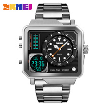 SKMEI Brand Dual Display Digital Wristwatches Mens Gold Luxury Stainless Steel Strap Watches Waterproof Electronic Watch Relogio