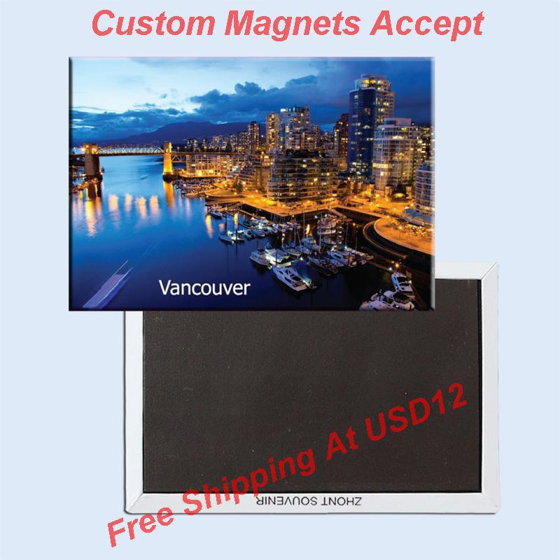 Memorabilia mágnesek, Kanada Vancouver City View téglalap fém hűtőszekrény mágnes 5440 turisztikai szuvenír
