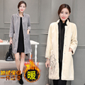 Newest Faux Suede Elegant Double Pocket Women's Long Designer Trench winter Fashionable stand collar Coat Women