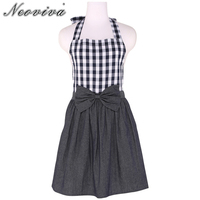 Neoviva Sturdy Garden Apron For Children With Bow Knot In Play Kitchen Style Tiffany Woven Checked