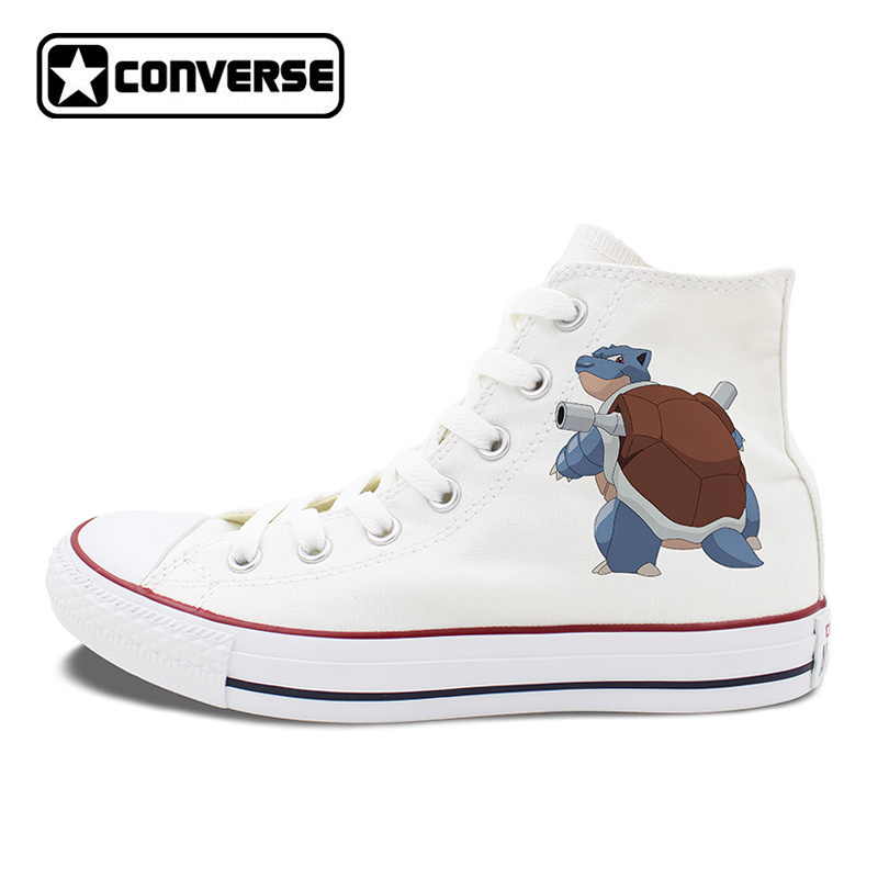 Men Women Converse All Star White Black Skateboarding Shoes Anime Pokemon Blastoise Design High Top Canvas Sneakers Flat anime converse all star skateboarding shoes boys girls pokemon snorlax white black canvas sneakers design 2 colors