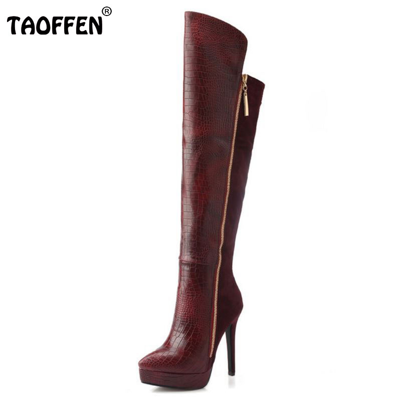 TAOFFEN Women Genuine Leather Pointed Toe Platform Over Knee Boots Woman Fashion Zipper Thin High Heel Shoes Footwear Size 33-38 taoffen women high platform shoes patent leather star lady casual fashion wedge footwear heels shoes size 33 48 p16184