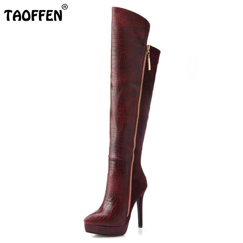 TAOFFEN Women Genuine Leather Pointed Toe Platform Over Knee Boots Woman Fashion Zipper Thin High Heel Shoes Footwear Size 33-38 недорого