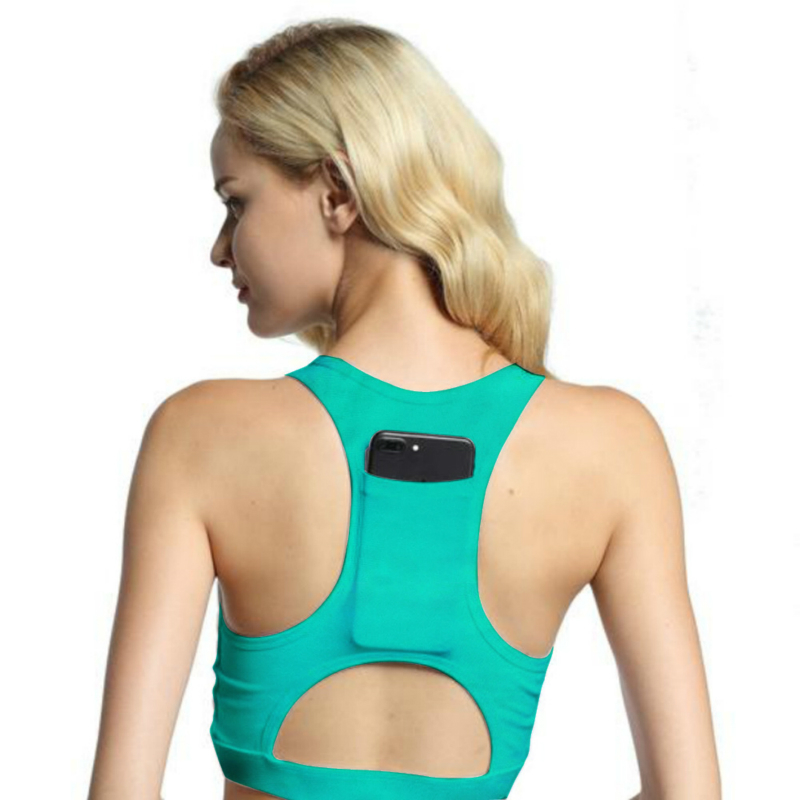 2019 Yoga Bra And Phone Pocket Sports Top Female Fitness Push Up Gym Running Shockproof Solid Color Compression Sports Vest in Sports Bras from Sports Entertainment